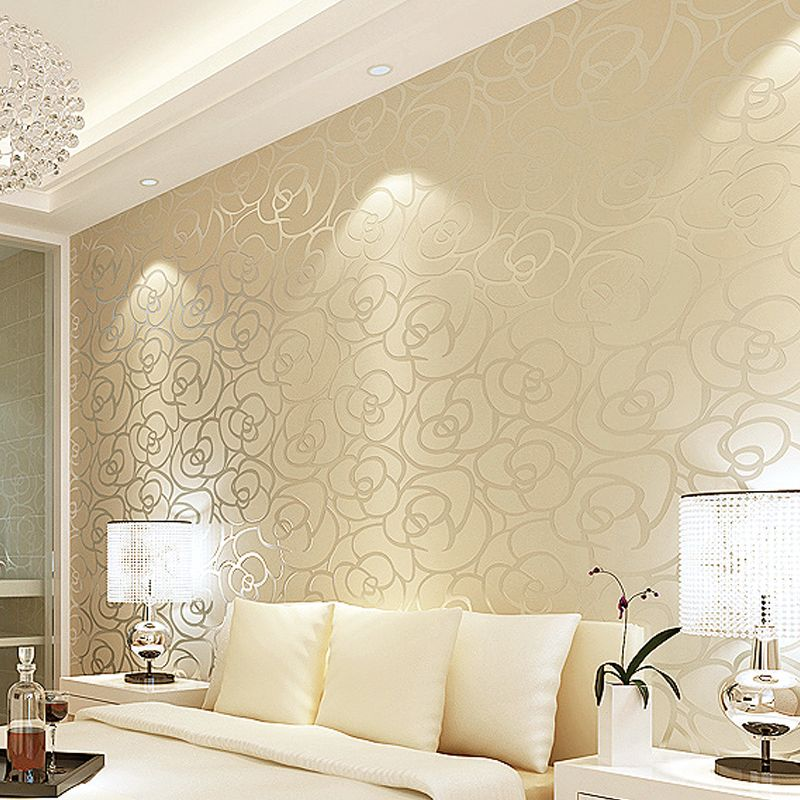 Modern Interior Flocking Textured Flowers Wallpaper Design Living Room Wallpaper Wallpaper Living Room Modern Wallpaper Designs
