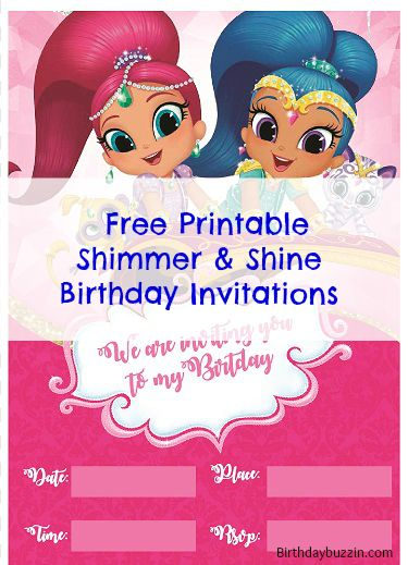 Free Printable Shimmer and Shine birthday invitations Pinterest