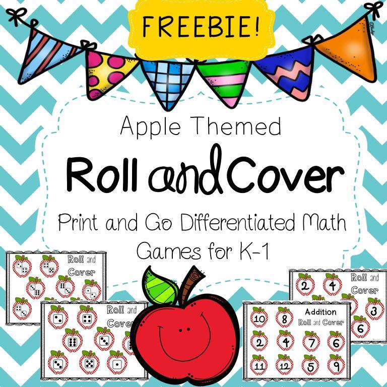 Apple Roll and Cover Math Game Math games, Math, Apple theme