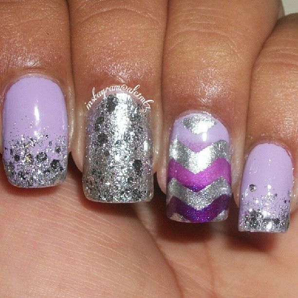 purple and silver chevron, purple gradient, purple ombre, glitter nails, nail art