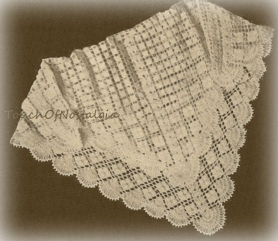Vntg Lacy CROCHET Baby SHAWL / Blanket Pattern 1940s - Lacy HEIRLOOM ...