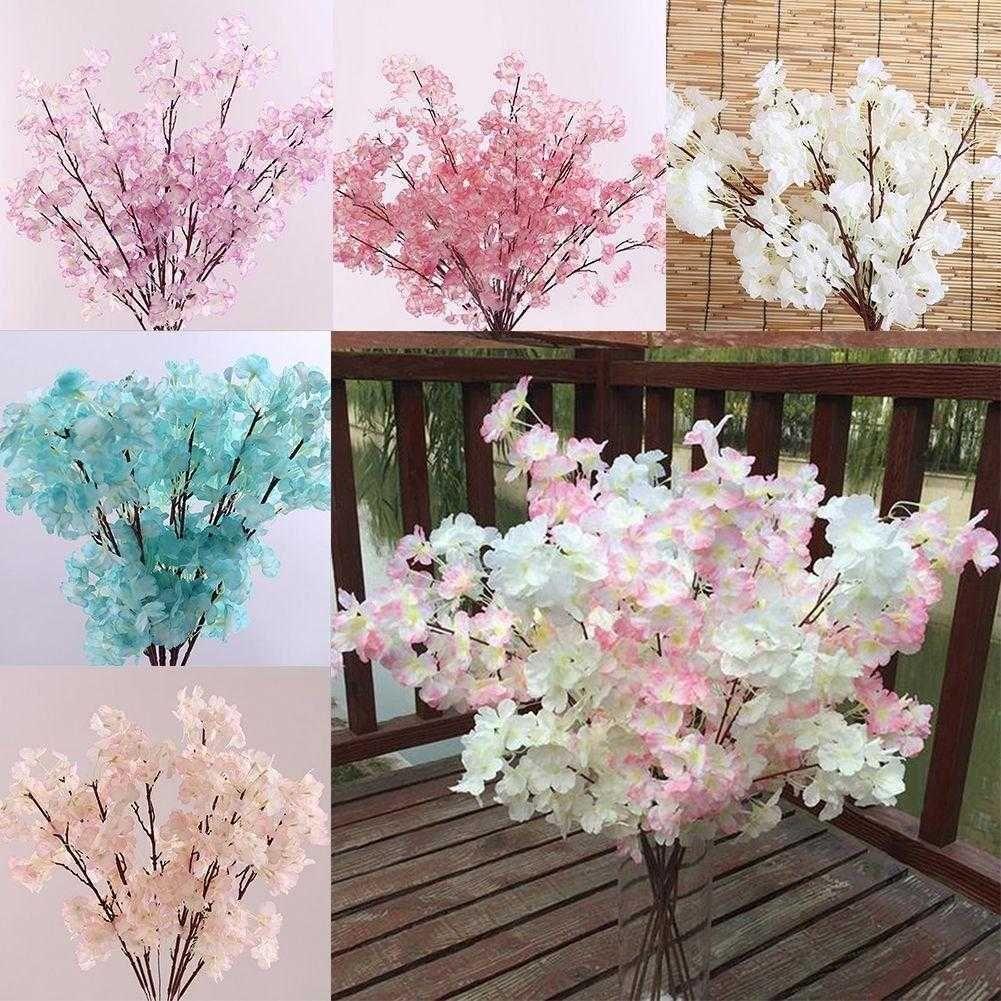 Details About 7pcs Peach Blossom Cherry Plum Branch Silk Flower Bouquet Wedding Home Decor Us Products Flower Bouquet Wedding Silk Flower Bouquets Cherry