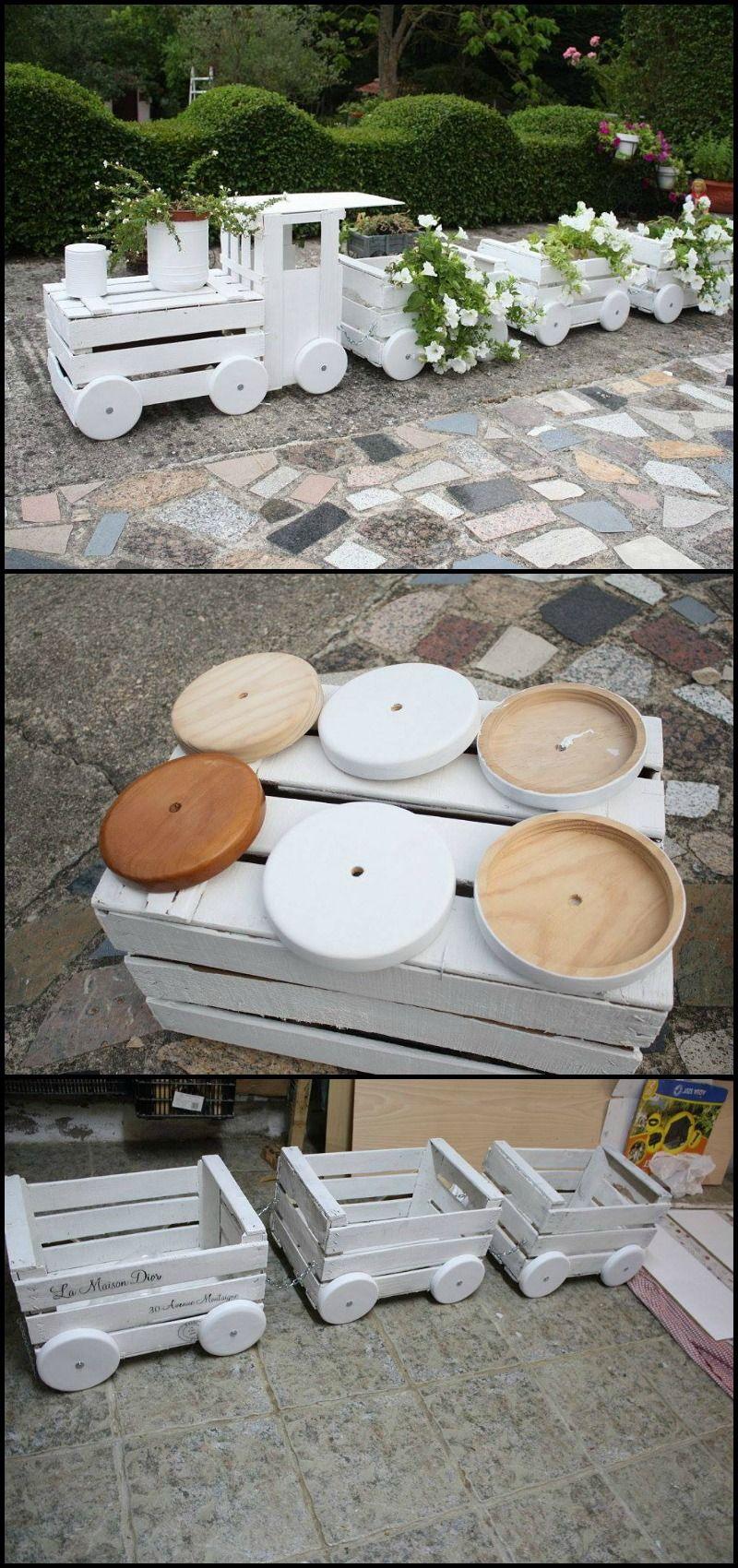 Transform old crates into a train planter gardens planters and head to - Garten bastelideen ...