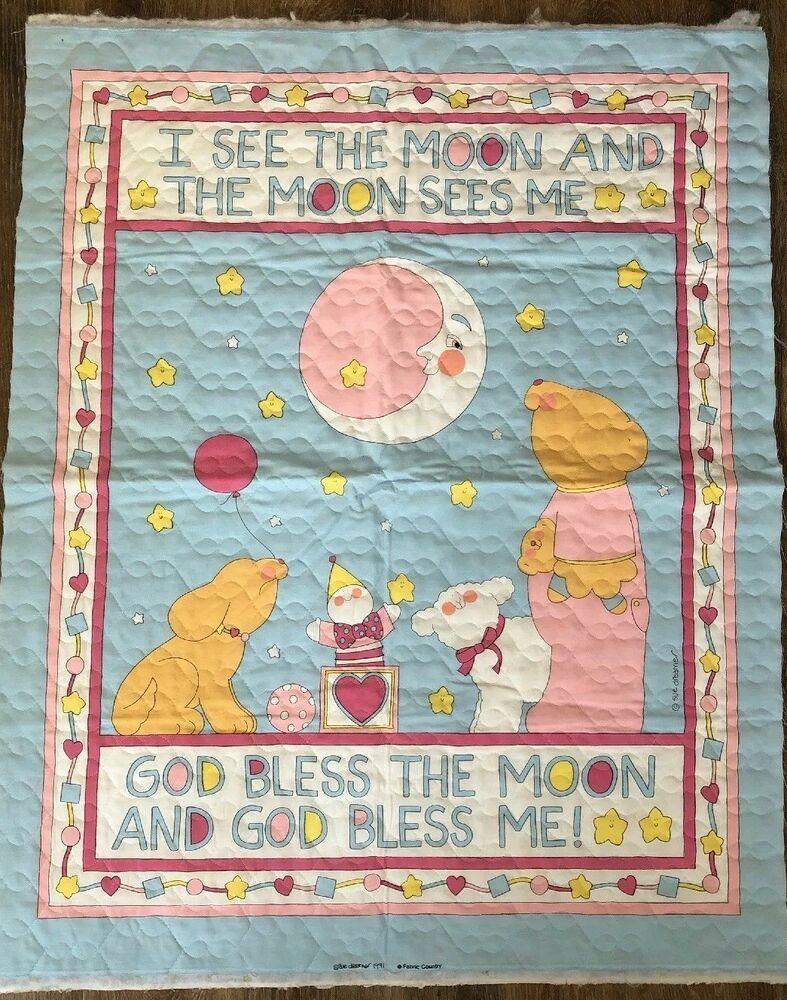 Vtg fabric panel baby cheater quilt sue dreamer 90s i see the moon bear stars ebay