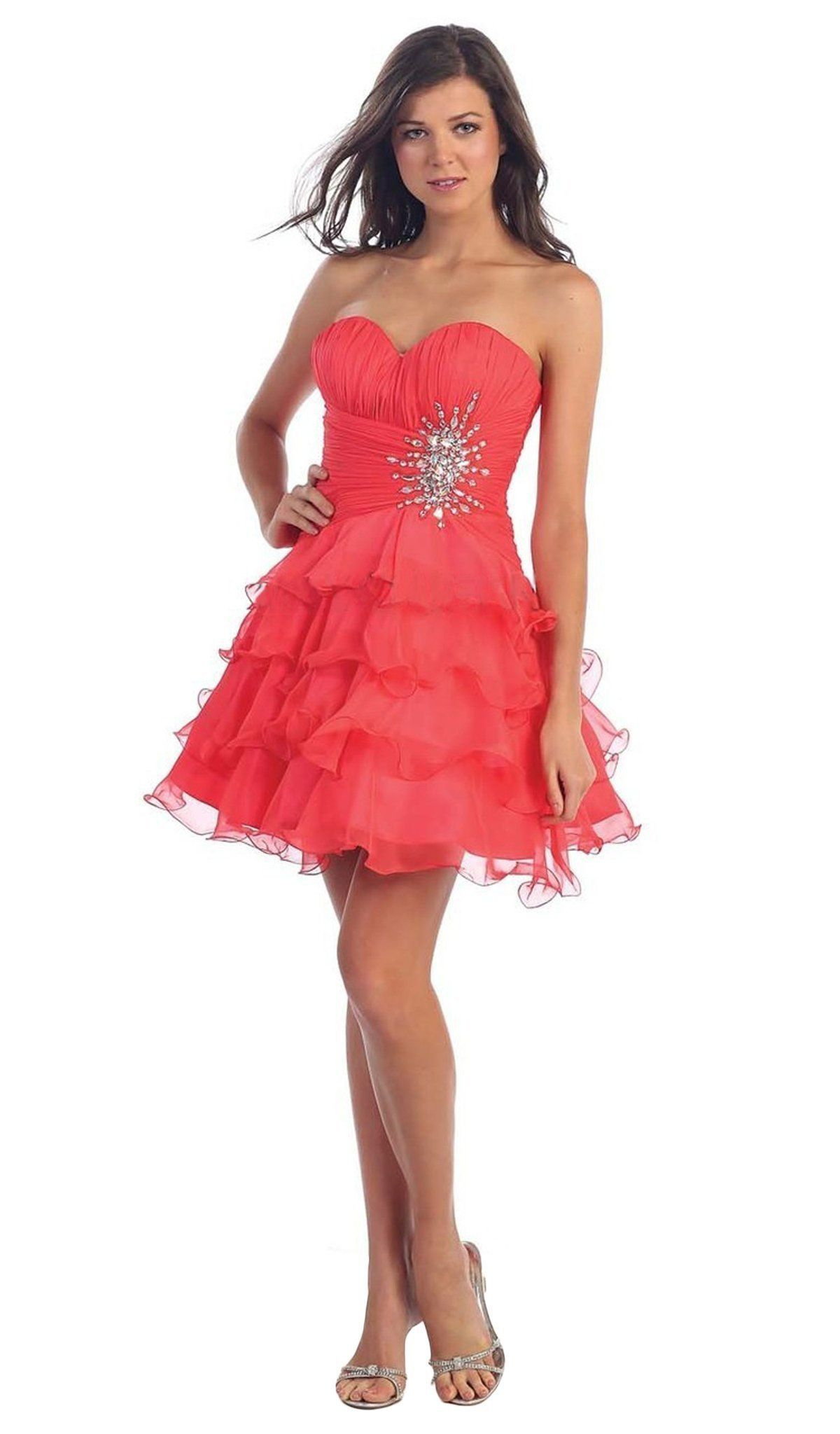 May Queen - Strapless Ruched Prom Dress with Ruffle Skirt ...