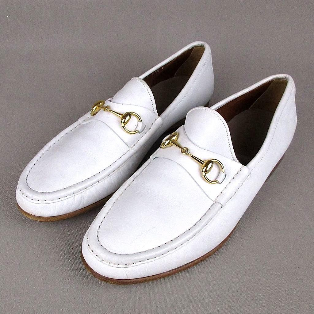d60c7177ffc Vintage Mens GUCCI White Leather Horsebit Loafers Dress Shoes Italy from  greatvintagestuff on Ruby Lane