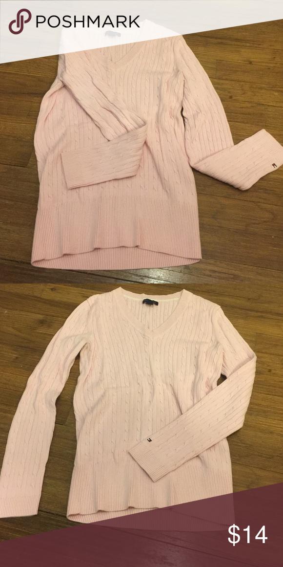 NWOT Pink V neck sweater Long sleeved, pink V neck sweater! Tommy Hilfiger Sweaters V-Necks