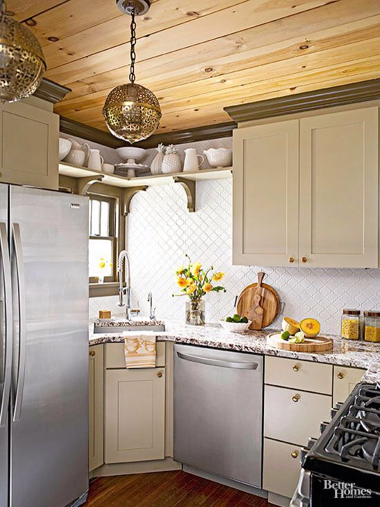 Shelves connecting kitchen cabinets ~~ great way to display vintage