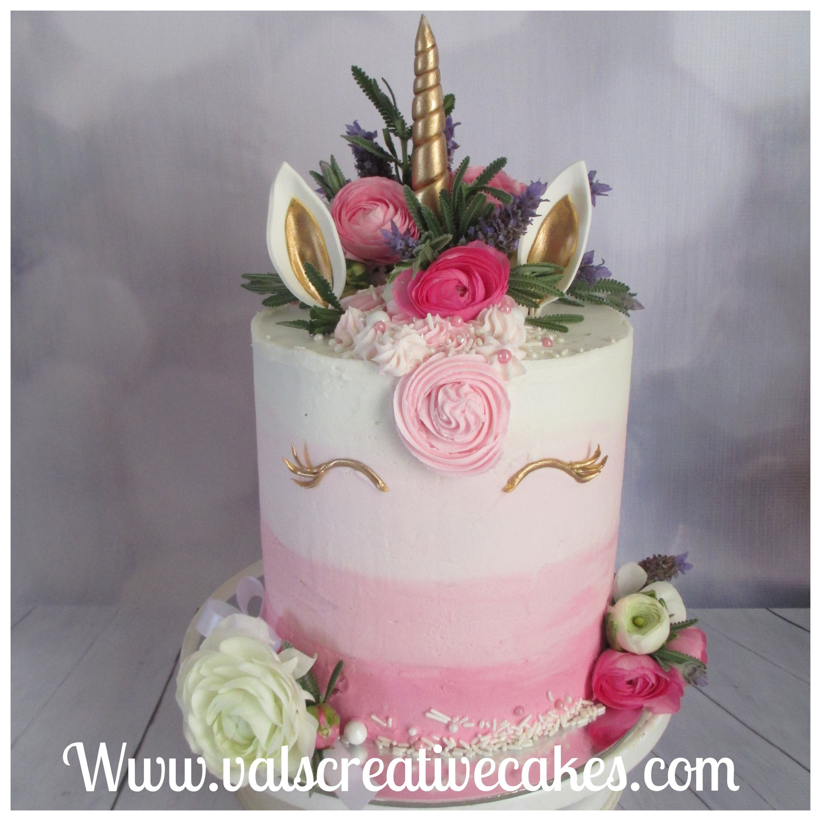 Unicorn Cake With Fresh Flowers