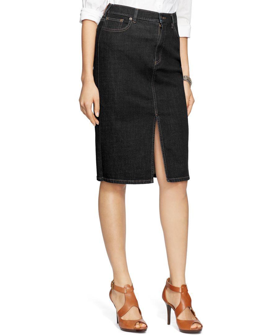 100% korkealaatuista halvin kuumia uusia tuotteita Lauren Ralph Lauren Stretch Denim Pencil Skirt   Products ...