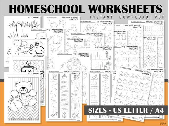 Homeschool Printables Handwriting Practice Sheets Coloring Etsy Homeschool Printables Homeschool Worksheets Handwriting Practice Sheets