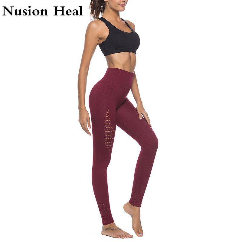 aca94cd1ba0c7b Dropship Super Stretchy Gym Tights Energy Seamless Tummy Control Yoga Pants  High Waist Sport Leggings Purple Running Pants Women-in Yoga Pants from  Sports ...