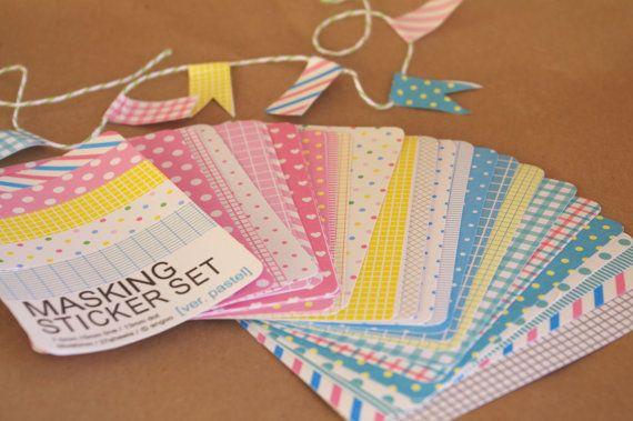 MaSKiNG STiCKeR SeT--pastel colors--1 set of 27 pages ---Scrapbooking, Gifts.... $7.75, via Etsy.