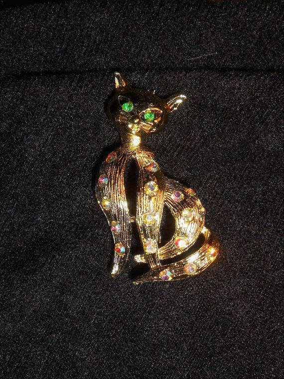 Shining Brooches for Women Animal Brooches Green Eye Crystal Cat Brooch Pin FO