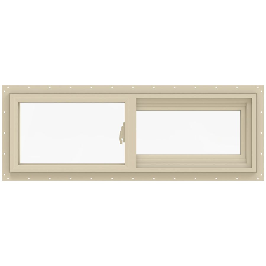 Jeld Wen V 2500 Right Operable Vinyl Double Pane Annealed Sliding Window Rough Opening 36 In X 12 In Actual Sliding Windows Vinyl Sliding Windows Jeld Wen