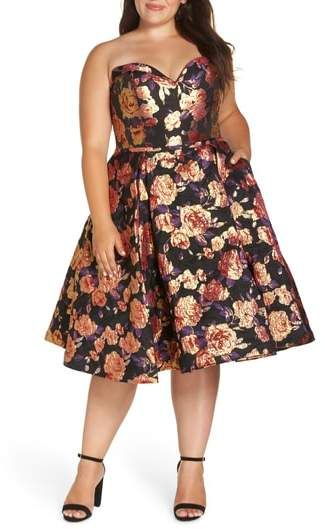 db4829812 Plus Size Bustier Floral Fit   Flare Dress - Plus Size Party Dress  plussize