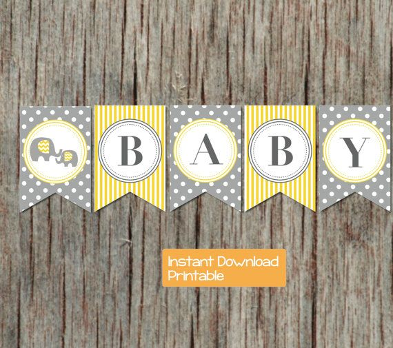 yellow grey elephant printable baby shower banner decorations diy shower supply instant download sweet baby printable