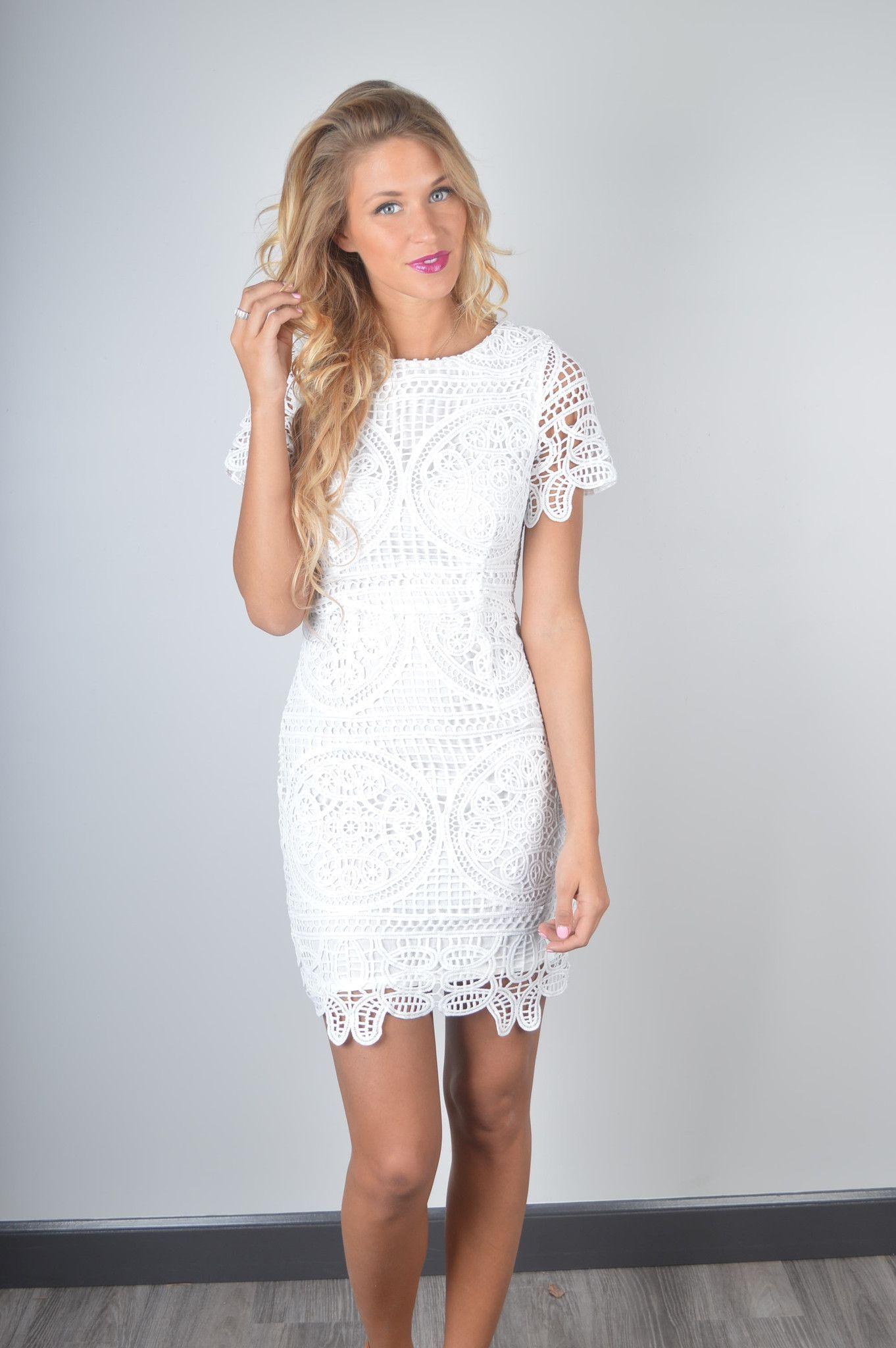 J.O.A. White Crochet Dress | Foi Clothing | Bridal Shower Dress ...