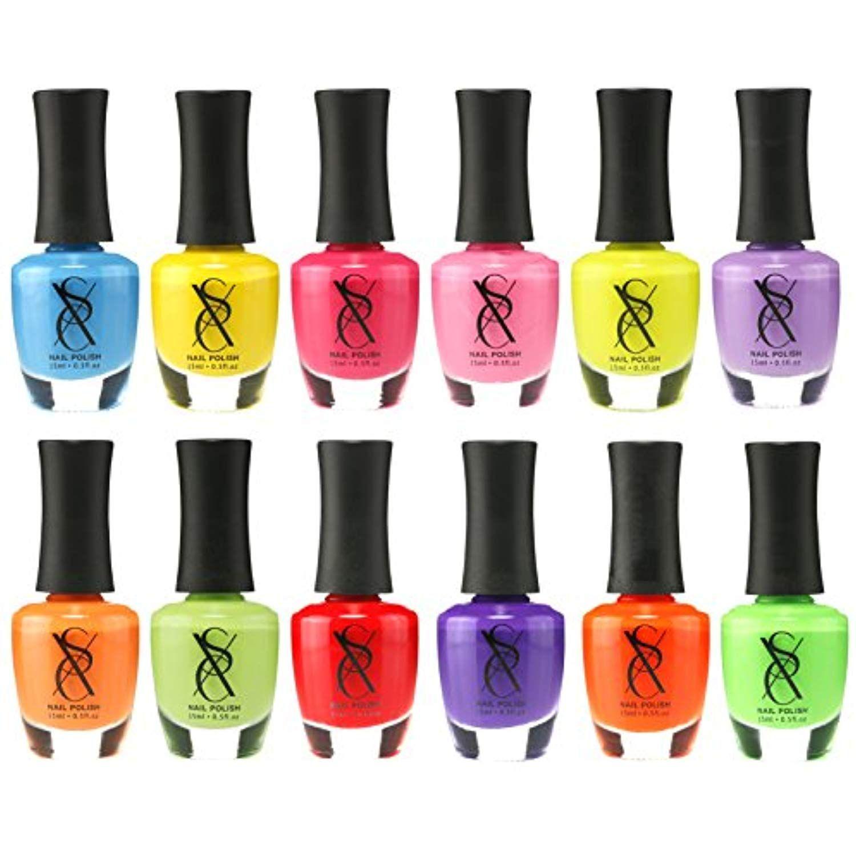 Sxc Cosmetics Nail Polish Set 12 Neon Bright Shades 15ml 0 5oz
