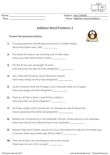Ks1 Addition Word Problems 2 Addition Word Problems Word Problems Exam Papers
