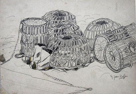 casiers a homards et langoustes et sabots bottes dessin de yvonne jean haffen breton. Black Bedroom Furniture Sets. Home Design Ideas
