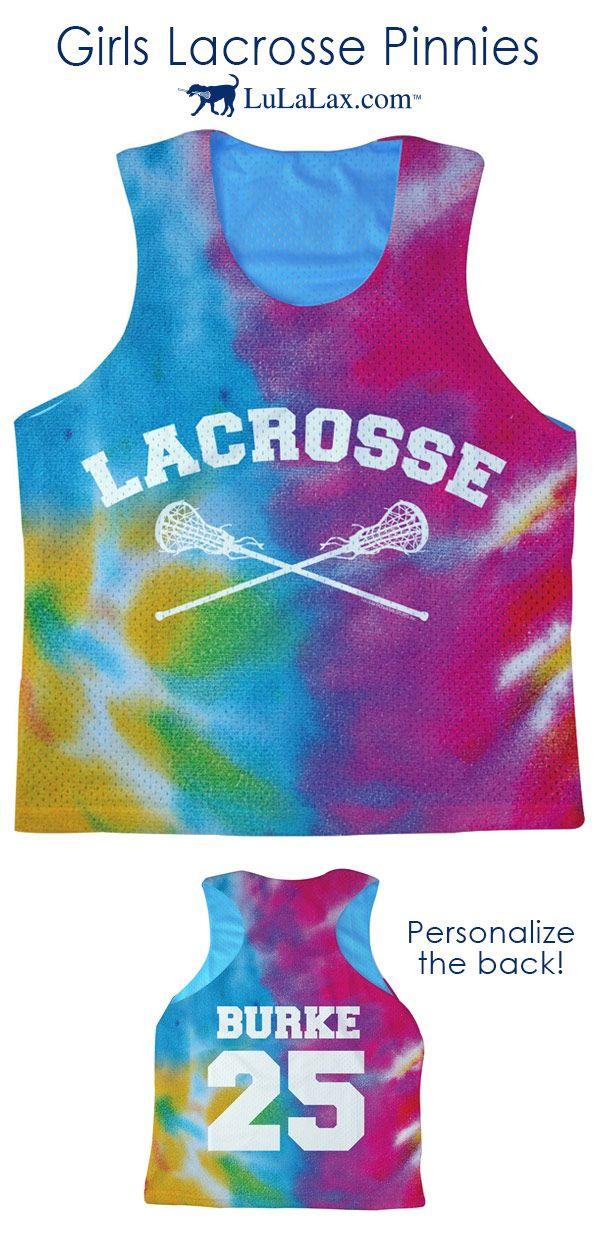 Girls Lacrosse Racerback Pinnie Tie Dye Pattern with Lacrosse Sticks