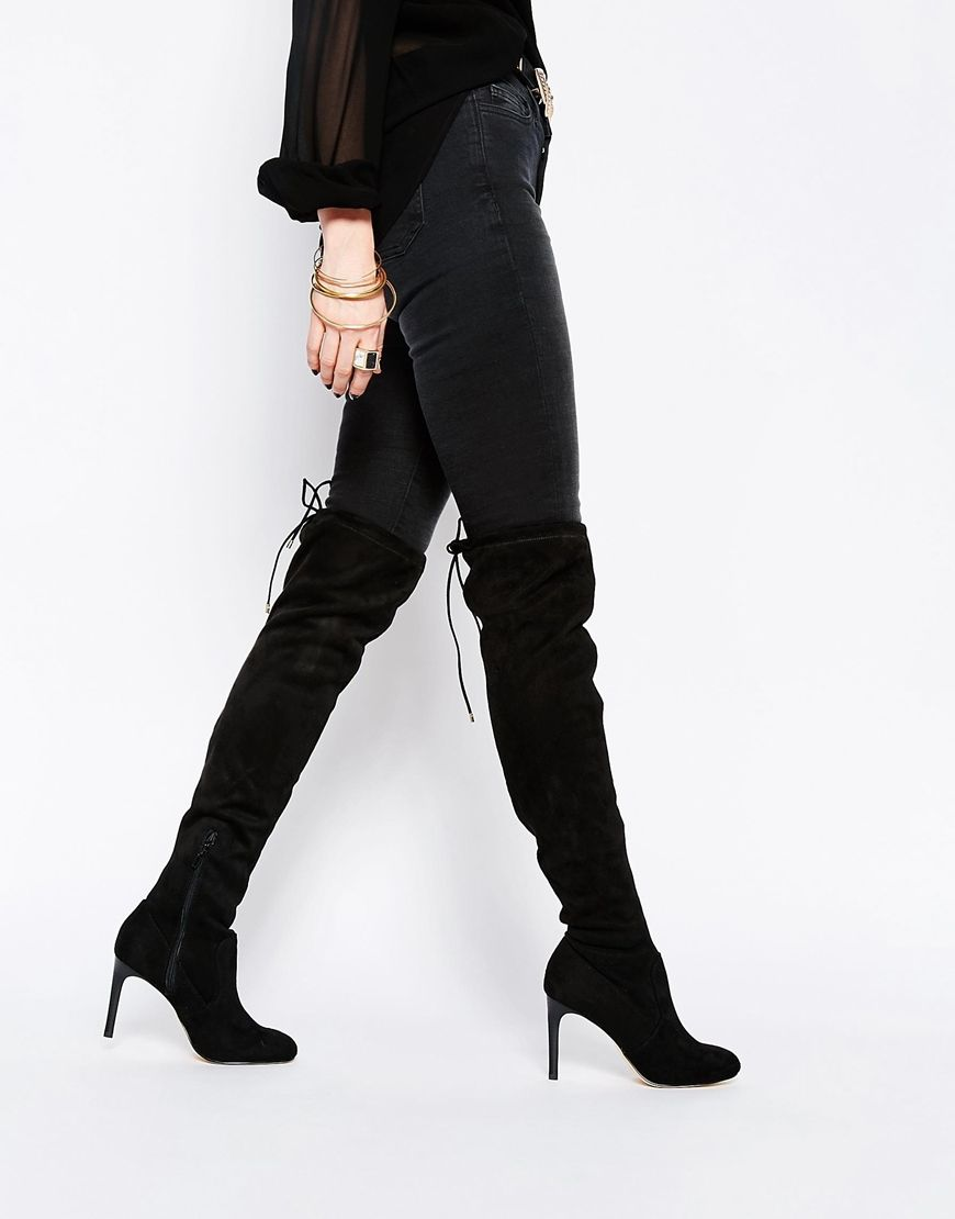 River+Island+Heeled+Over+The+Knee+Boot+With+Tie+Back | Over