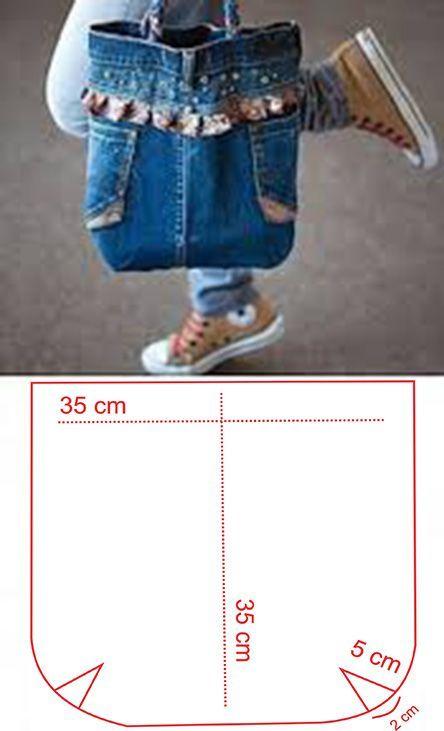 molde para hacer un bolso de jeans  – Bolsa