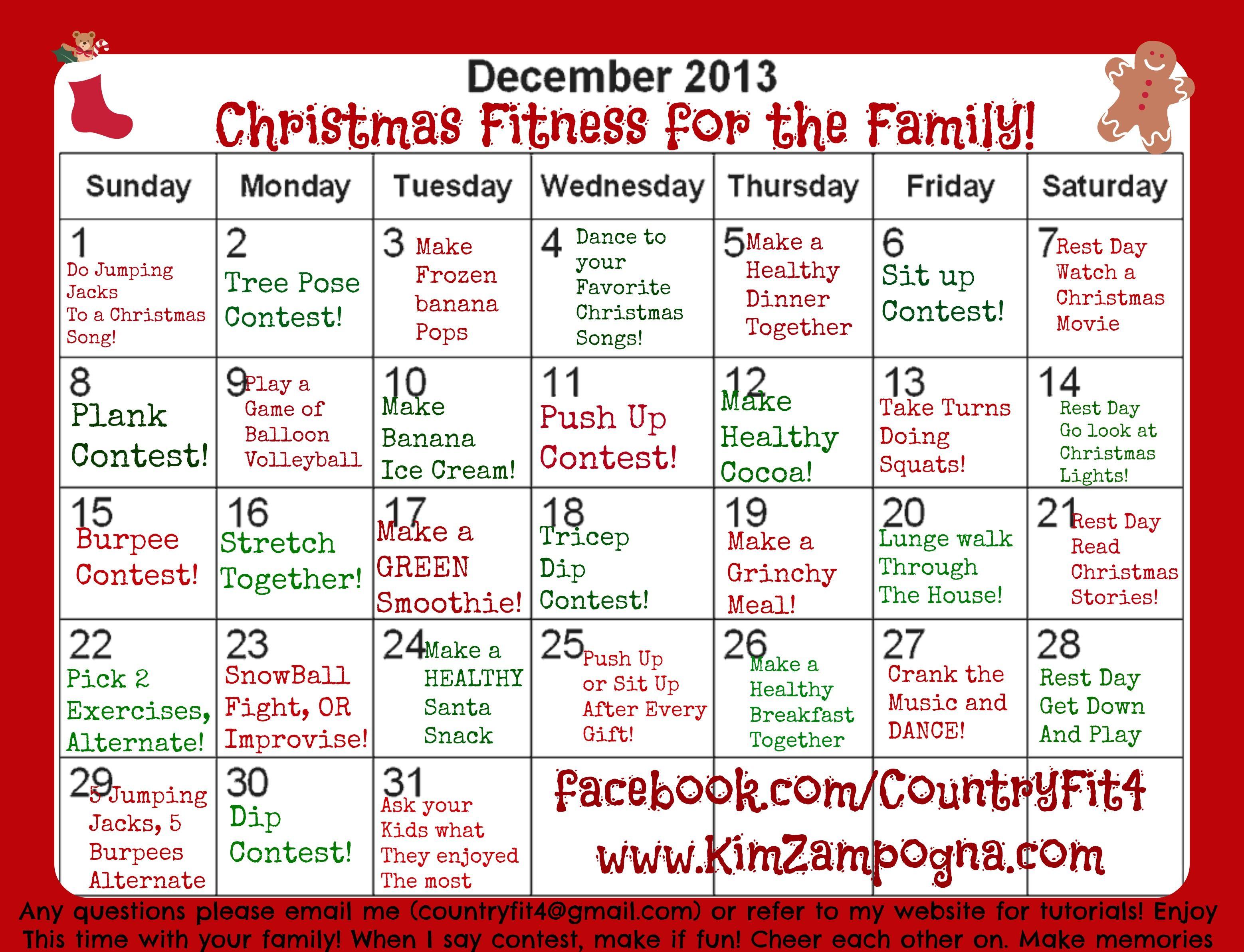 Christmas Family Fitness Challenge Family Fitness Challenge