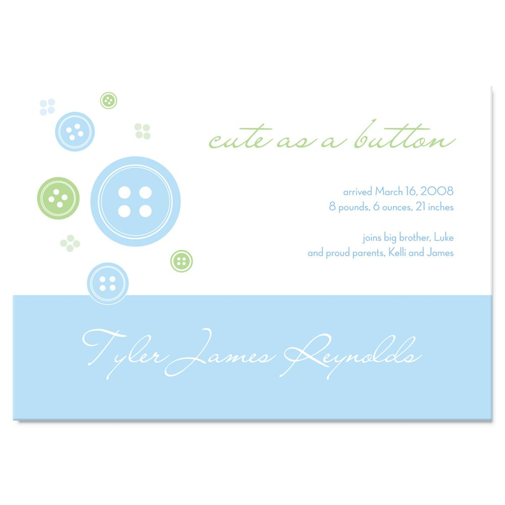 Cute as a Button Baby Announcement Magnet - Blue, green, and white button design announces the birth of your little one.
