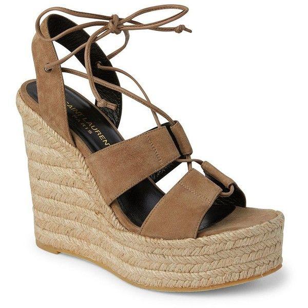 Saint Laurent Women's Suede Lace-Up Espadrille Platform Wedge Sandals  ($595) ❤ liked