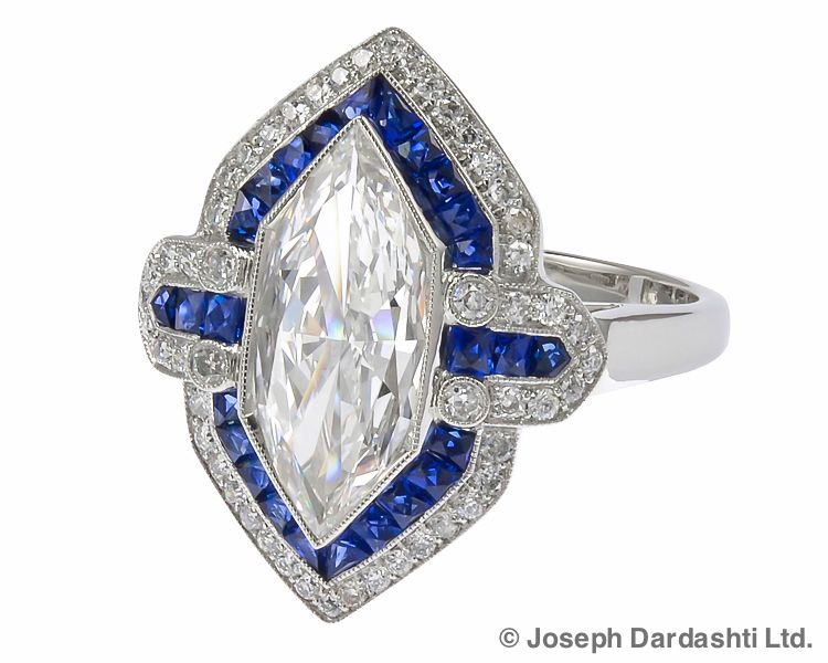 Marquise Diamond with Sapphire in Platinum Ring