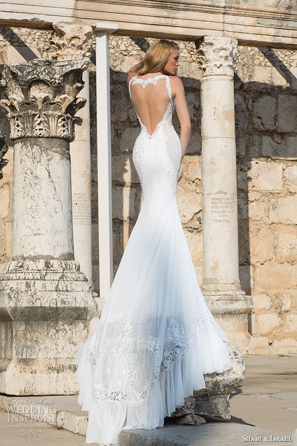 shabi and israel wedding dresses 2015 sexy low cut back sleeveless white fit and flare dress bridal gown