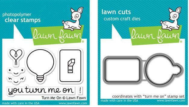 Lawn Fawn Clear Stamp and Lawn Cuts Die Set - YOU TURN ME ON - LF1020 & LF1021