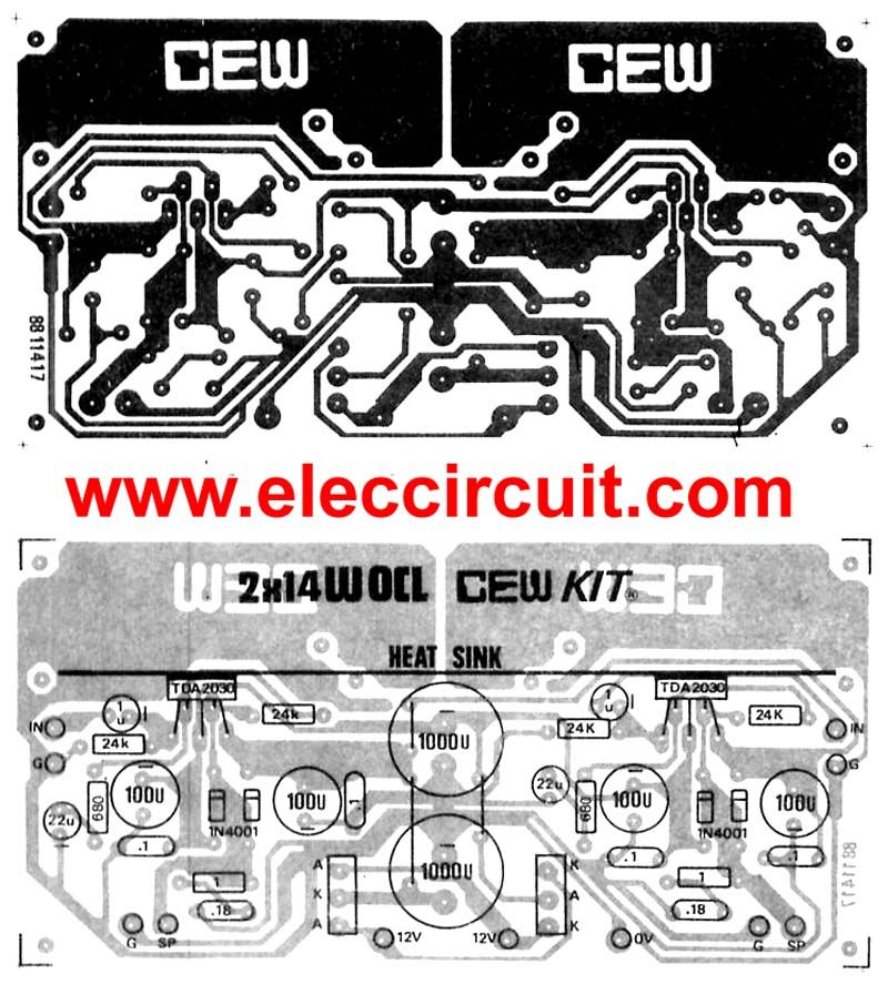 tda2030 audio amplifier circuits eleccircuit com electronicsthis be super bridge 120w power amplifier by ic tda2030 for you like the circuit amplifies that use the integrated circuit and transistor bd249 or tip31