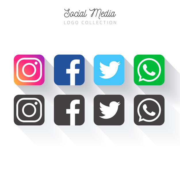 Popular social media logo collection Free Vector in 2020