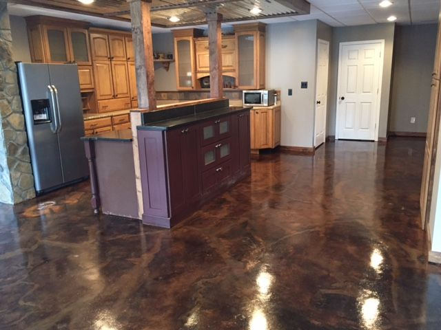 Superior Coffee And Black Acid Stains With Krystal Water Based Concrete Sealer And  Floor Wax And Polish
