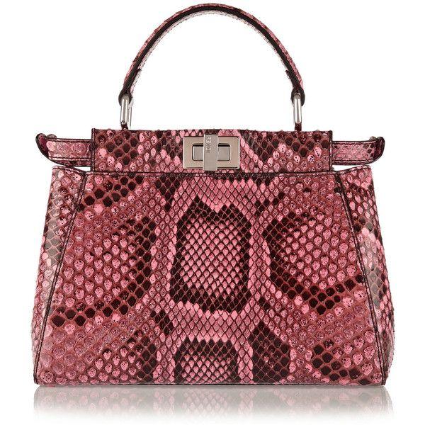 Fendi Peekaboo mini python shoulder bag (€4.110) ❤ liked on Polyvore  featuring bags a42e79cd35fd