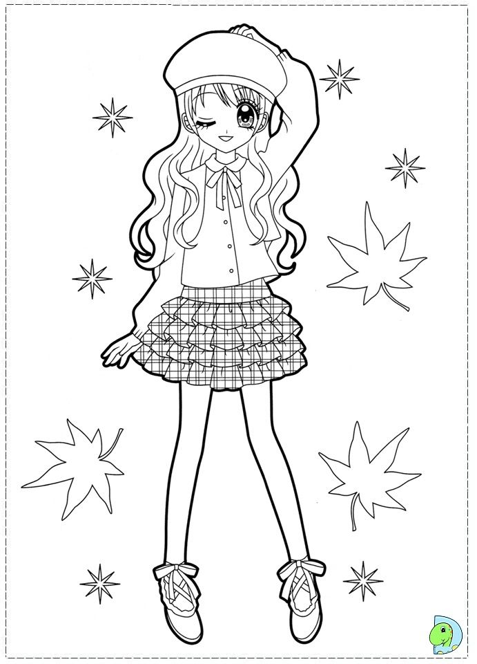 Cute girl colouring pages 14 cute lovley anime coloring pages