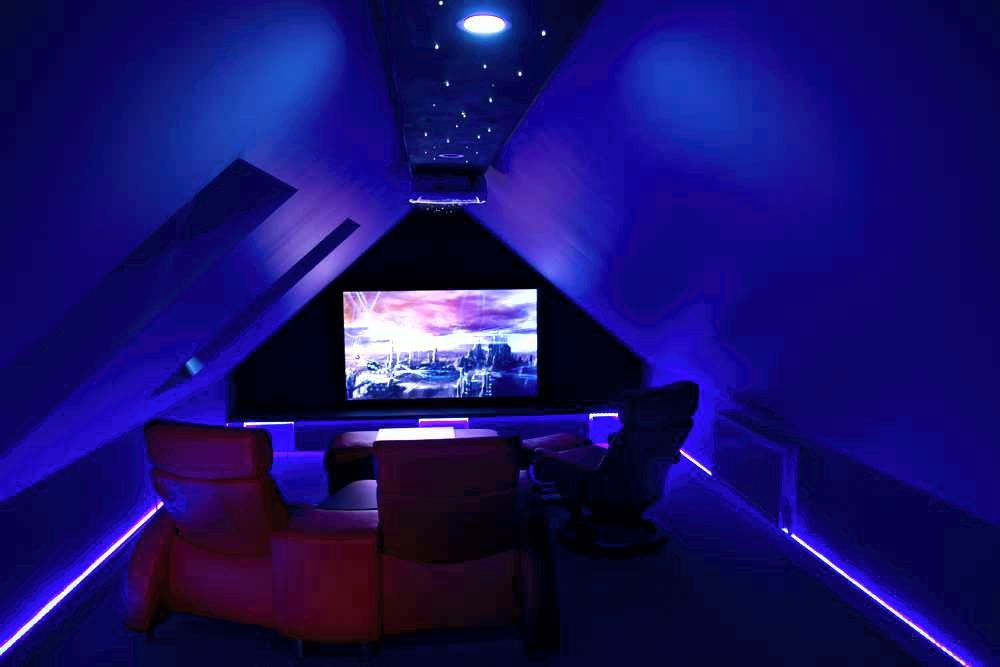 A Small But Atmospheric Home Cinema By Award Winning Et Home Cinema Attic Renovation Attic Remodel Attic Rooms