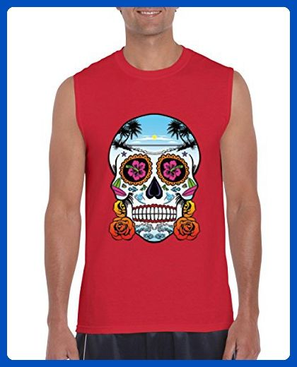 Ugo Neon Skull With Roses Day Of Dead Skull Costume Gift For Christmas Birthday Ultra Cotton Sleeveless Men's T-Shirt - Holiday and seasonal shirts (*Amazon Partner-Link)