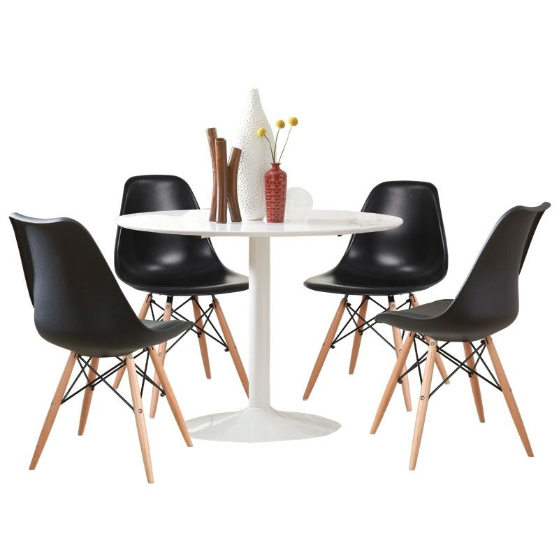 Lowry 5 Piece Black And White Dining Set | Weekends Only Furniture And  Mattress