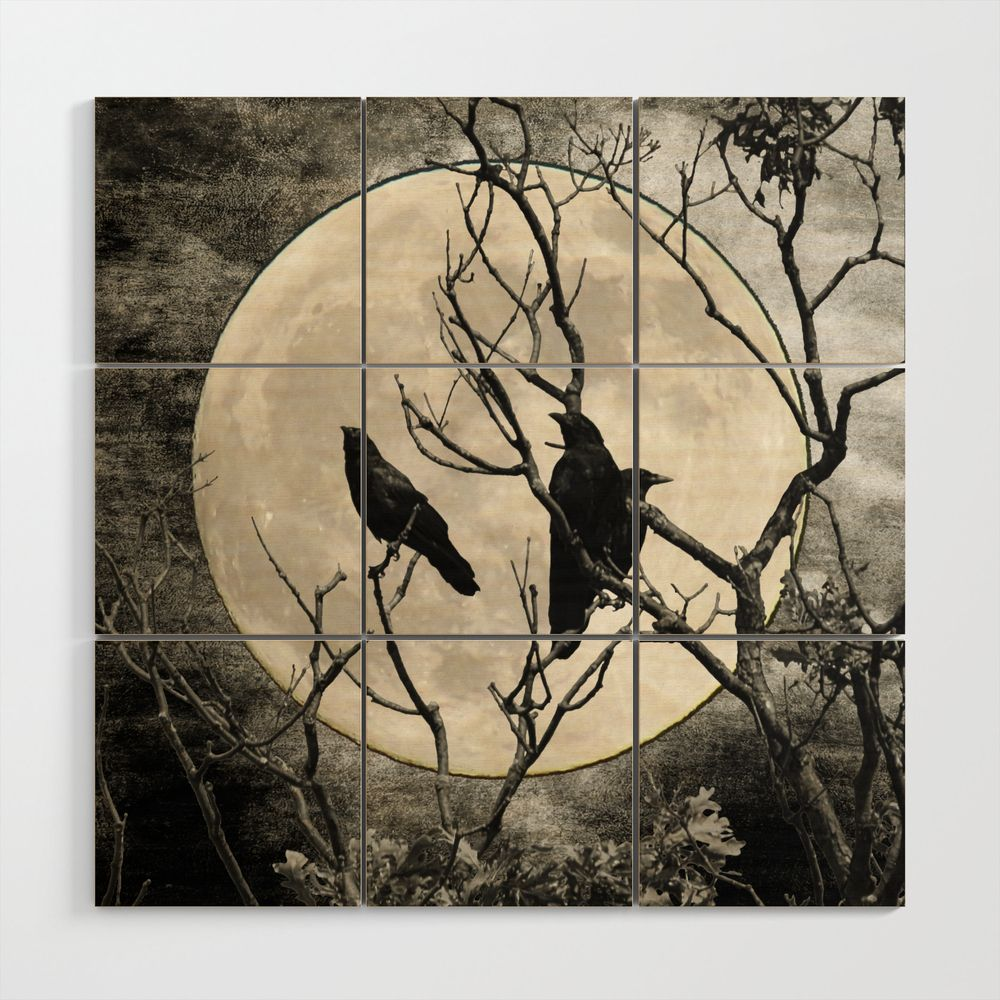 Black White Crows Birds Tree Moon Landscape Home Decor Matted Picture Print A268