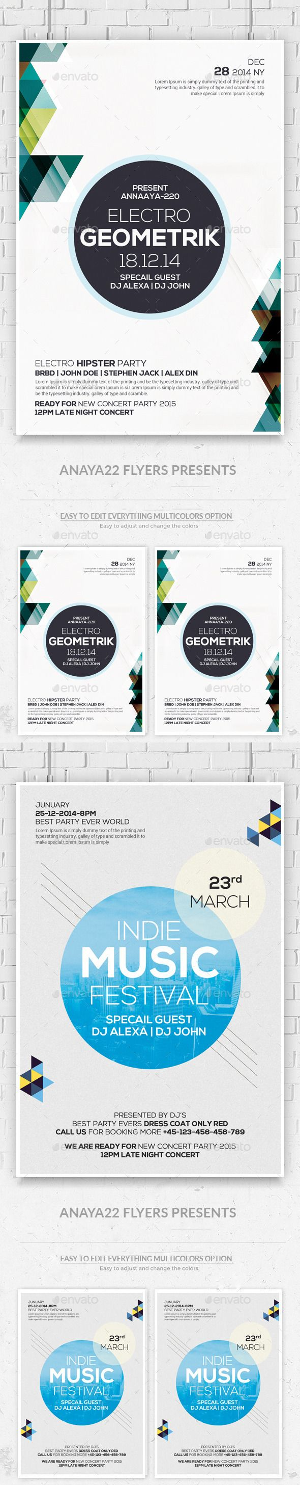 Geometric Flyers Bundle  Font Logo Flyer Template And Fonts