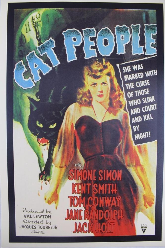 Cat People Movie Poster Classic Cinema Obscure Horror Scary Decor Wall Art Print Classic Movie Posters Movie Posters Movie Posters Vintage