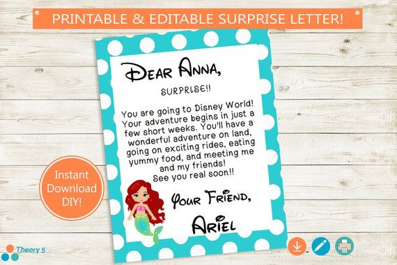 Printable and Editable Trip Reveal Disney Letter! Adobe