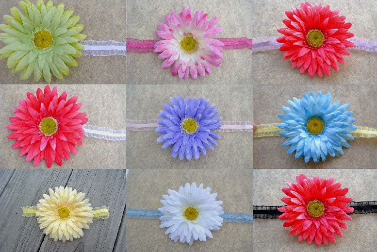 Gerber Daisy Flower Organza Ruffle Headband -Shabby Chic Baby Girl Photo Prop- Yellow Pink Purple Blue White Green Newborn Infant head band by StaggSquare on Etsy