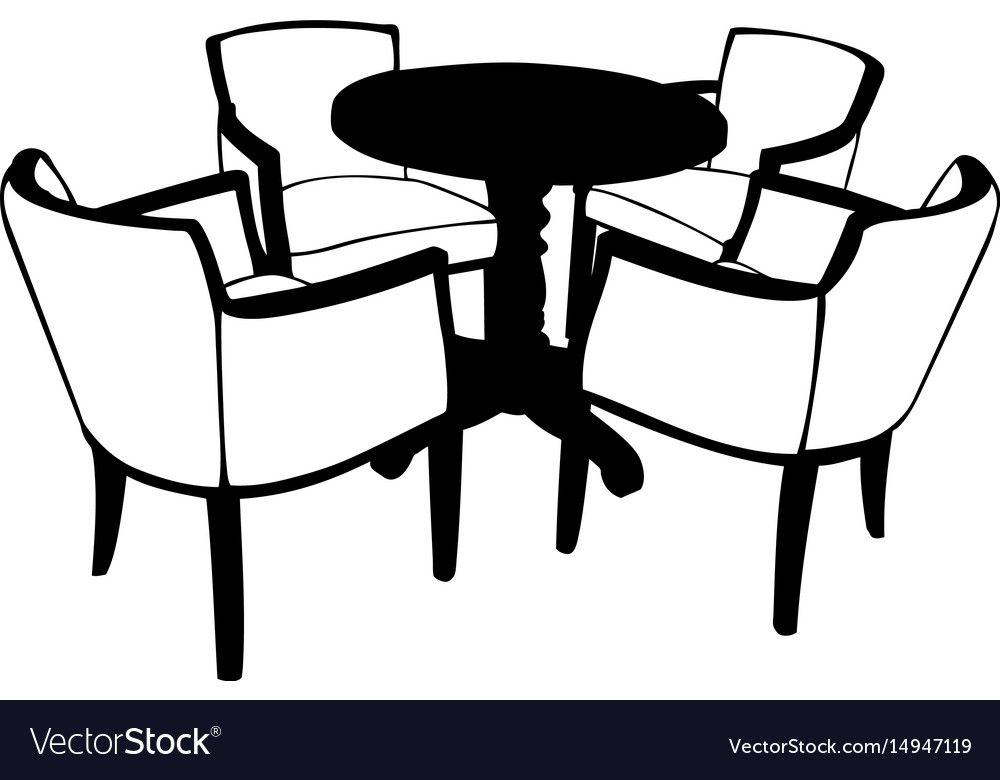Table With Chairs Royalty Free Vector Image Vectorstock