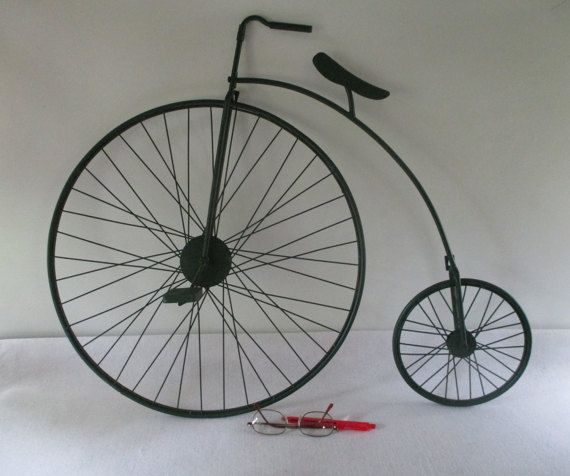 Metal Bicycle High Wheel Big Wheel Penny Farthing High Bicycle Antiques Office Wall Art