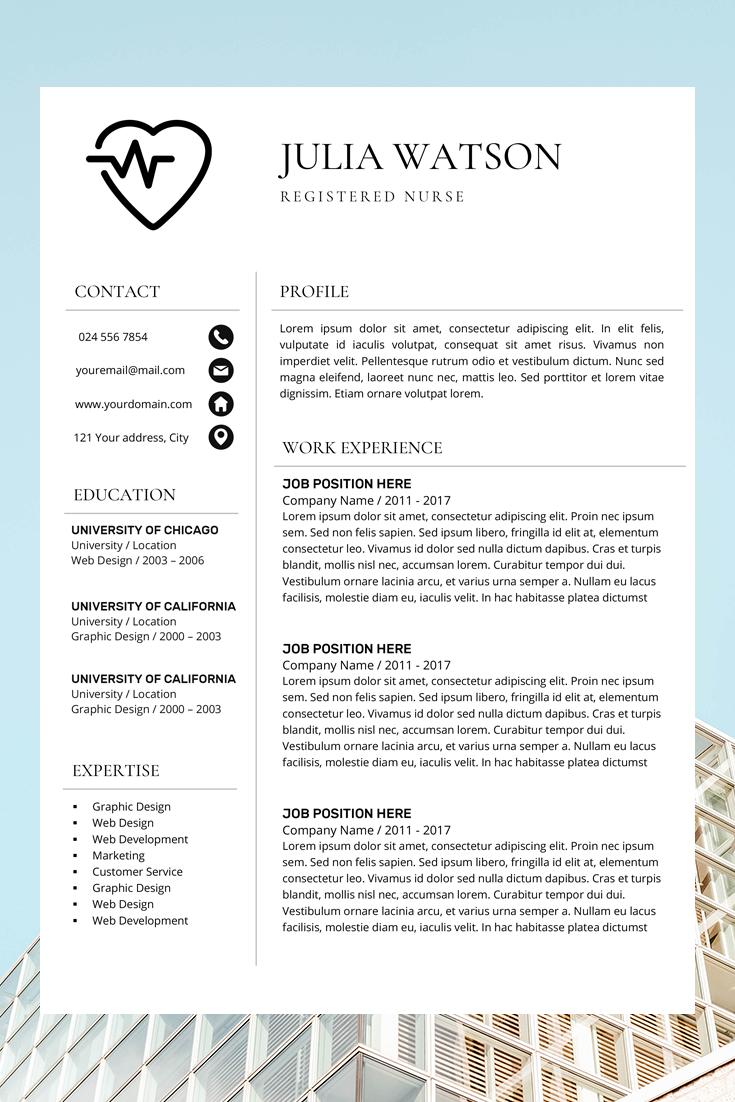 Professional Resume Template Nurse Cv Template Word Resume Etsy Resume Template Word Nursing Resume Template Letter Template Word